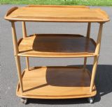 Ercol Three Tier Light Elm Tea Trolley